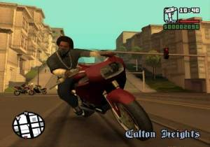 CJ on a bike in GTA San Andreas